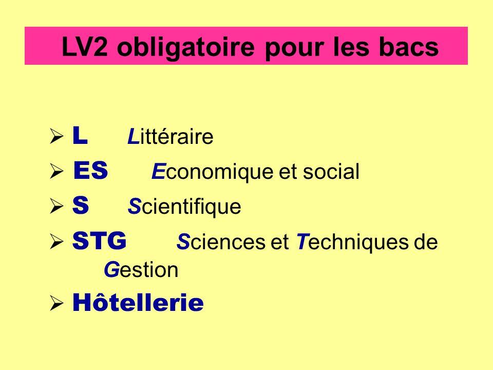 LV2 obligatoire pour les bacs L Littéraire ES Economique et social S Scientifique STG Sciences et Techniques de Gestion Hôtellerie