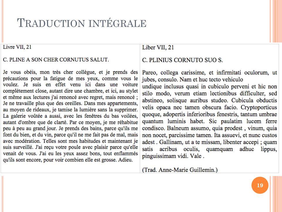 T RADUCTION INTÉGRALE 19
