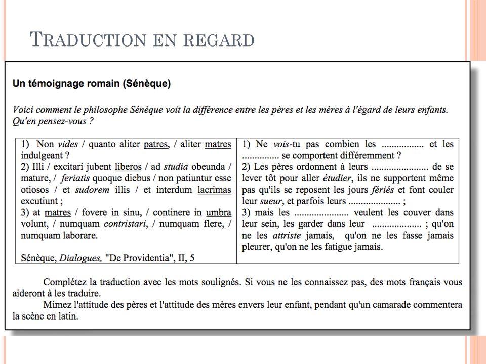 T RADUCTION EN REGARD 21