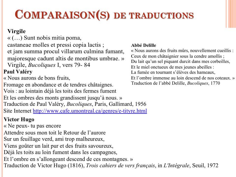 C OMPARAISON ( S ) DE TRADUCTIONS 32