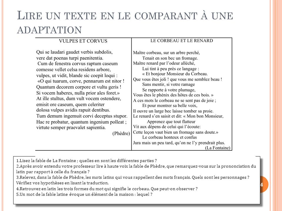 1.Lisez la fable de La Fontaine ; quelles en sont les différentes parties ? 2.Après avoir entendu votre professeur lire à haute voix la fable de Phèdr