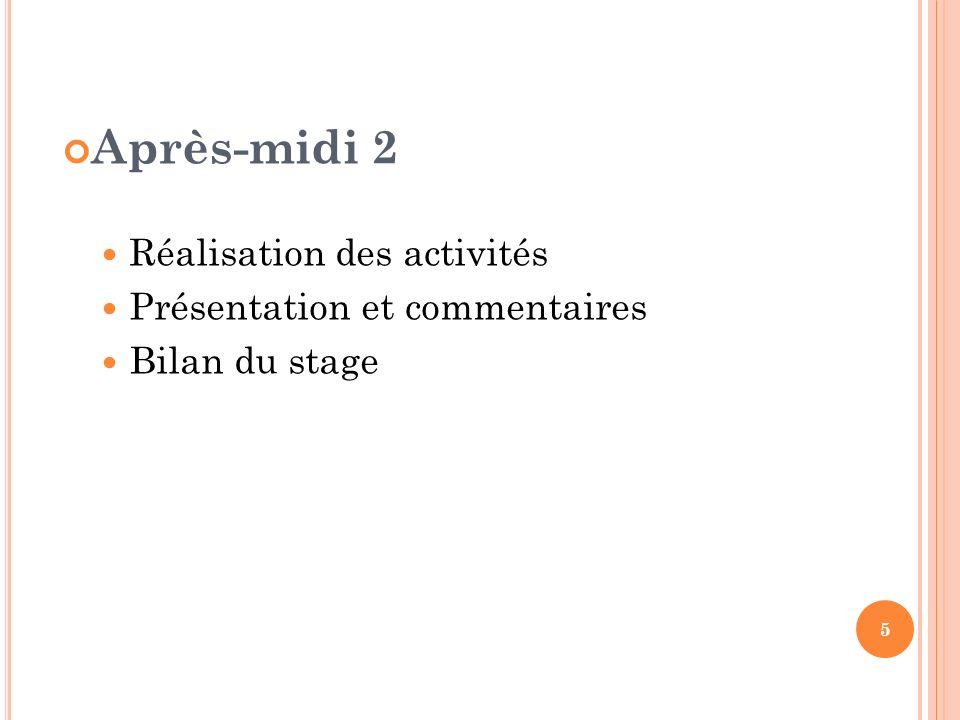 Après-midi 2 Réalisation des activités Présentation et commentaires Bilan du stage 5