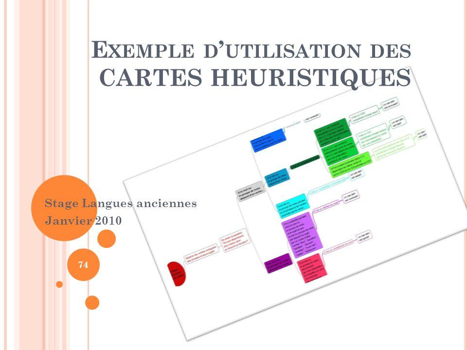 E XEMPLE D UTILISATION DES CARTES HEURISTIQUES Stage Langues anciennes Janvier 2010 74