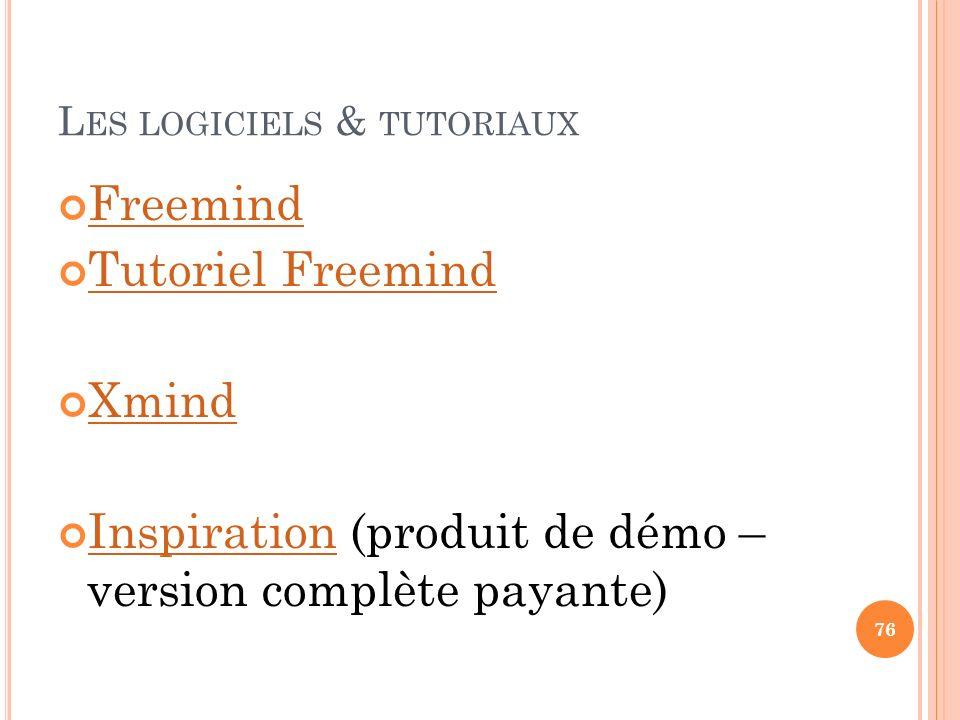 L ES LOGICIELS & TUTORIAUX Freemind Tutoriel Freemind Xmind Inspiration (produit de démo – version complète payante) Inspiration 76