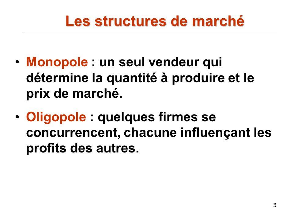 3 Les structures de marché Les structures de marché Monopole : un seul vendeur qui détermine la quantité à produire et le prix de marché. Oligopole :