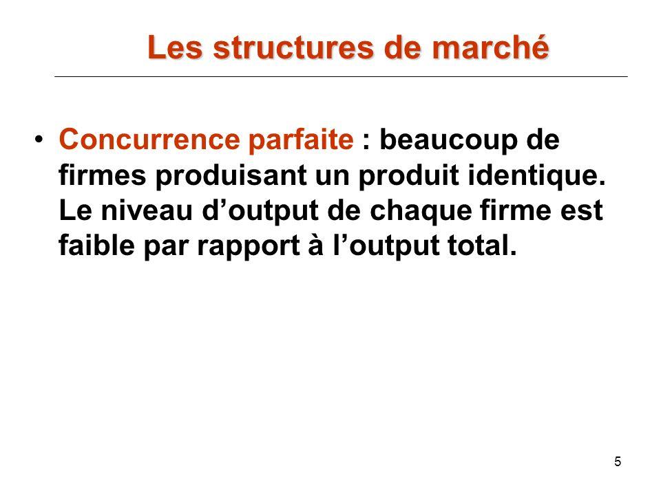5 Les structures de marché Les structures de marché Concurrence parfaite : beaucoup de firmes produisant un produit identique. Le niveau doutput de ch