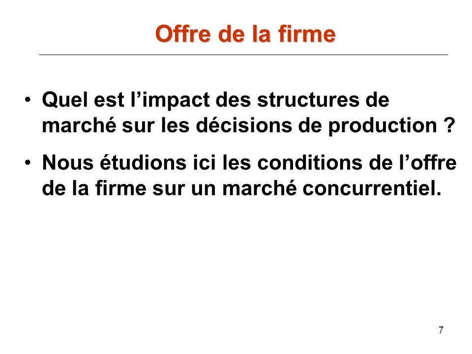 7 Offre de la firme Quel est limpact des structures de marché sur les décisions de production ? Nous étudions ici les conditions de loffre de la firme