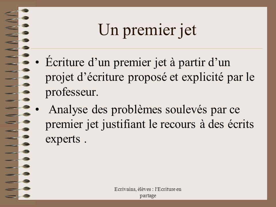 Ecrivains, élèves : l Ecriture en partage Un premier jet Écriture dun premier jet à partir dun projet décriture proposé et explicité par le professeur.