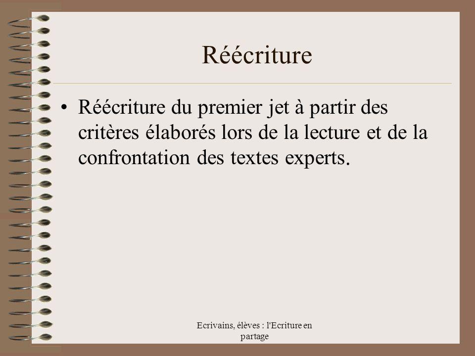 Ecrivains, élèves : l Ecriture en partage Réécriture Réécriture du premier jet à partir des critères élaborés lors de la lecture et de la confrontation des textes experts.