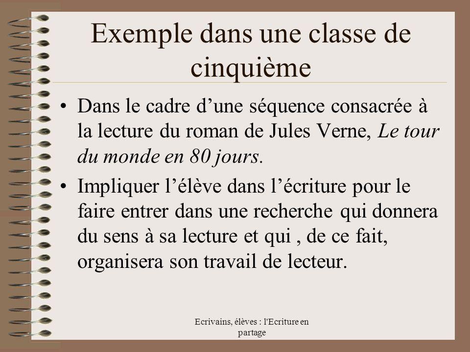 Ecrivains, élèves : l Ecriture en partage Exemple dans une classe de cinquième Dans le cadre dune séquence consacrée à la lecture du roman de Jules Verne, Le tour du monde en 80 jours.