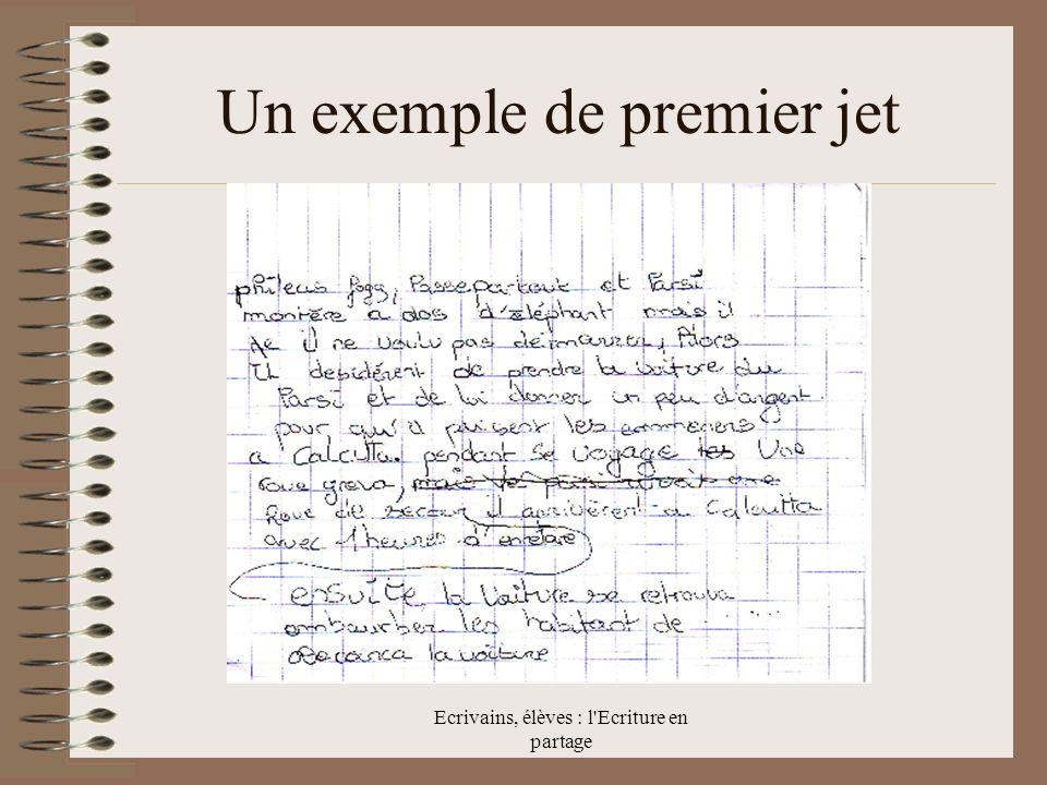Ecrivains, élèves : l Ecriture en partage Un exemple de premier jet