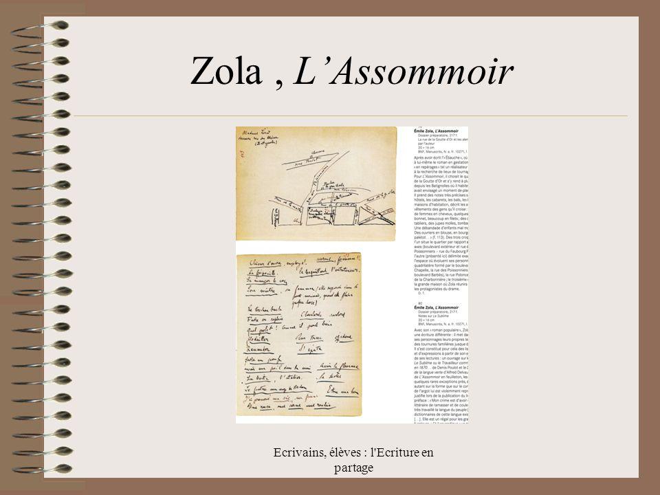 Ecrivains, élèves : l Ecriture en partage Zola, LAssommoir