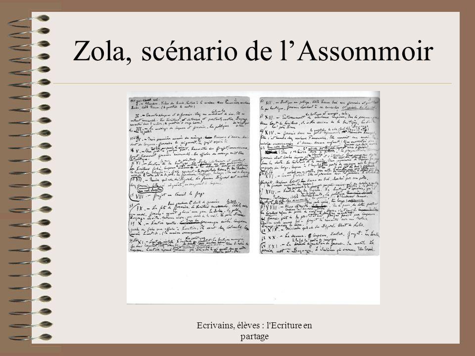Ecrivains, élèves : l Ecriture en partage Zola, scénario de lAssommoir