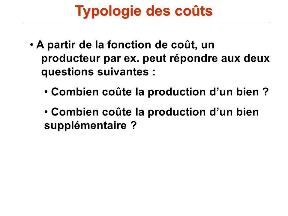 III.B) La fonction de coût : A partir de la fonction de coût, un producteur par ex. peut répondre aux deux questions suivantes : Combien coûte la prod