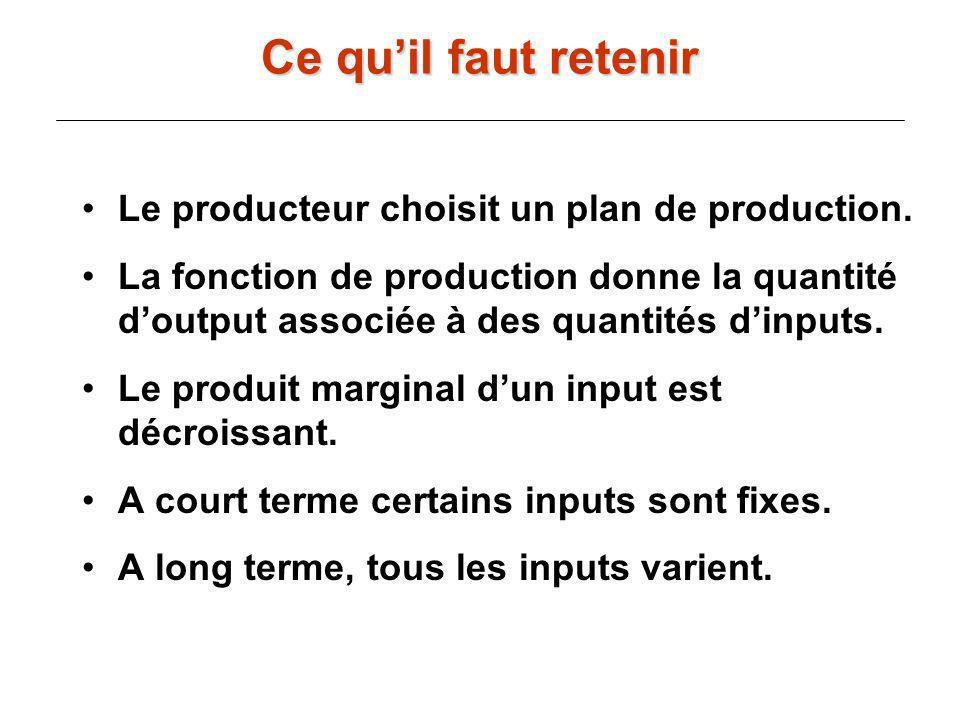 Le producteur choisit un plan de production. La fonction de production donne la quantité doutput associée à des quantités dinputs. Le produit marginal