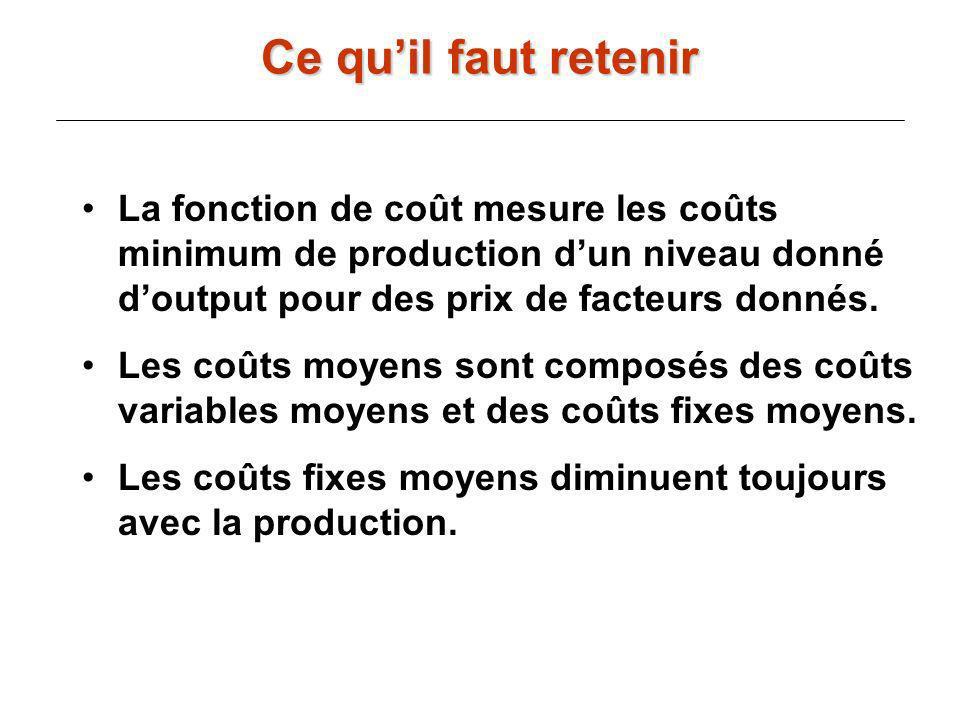 La fonction de coût mesure les coûts minimum de production dun niveau donné doutput pour des prix de facteurs donnés. Les coûts moyens sont composés d
