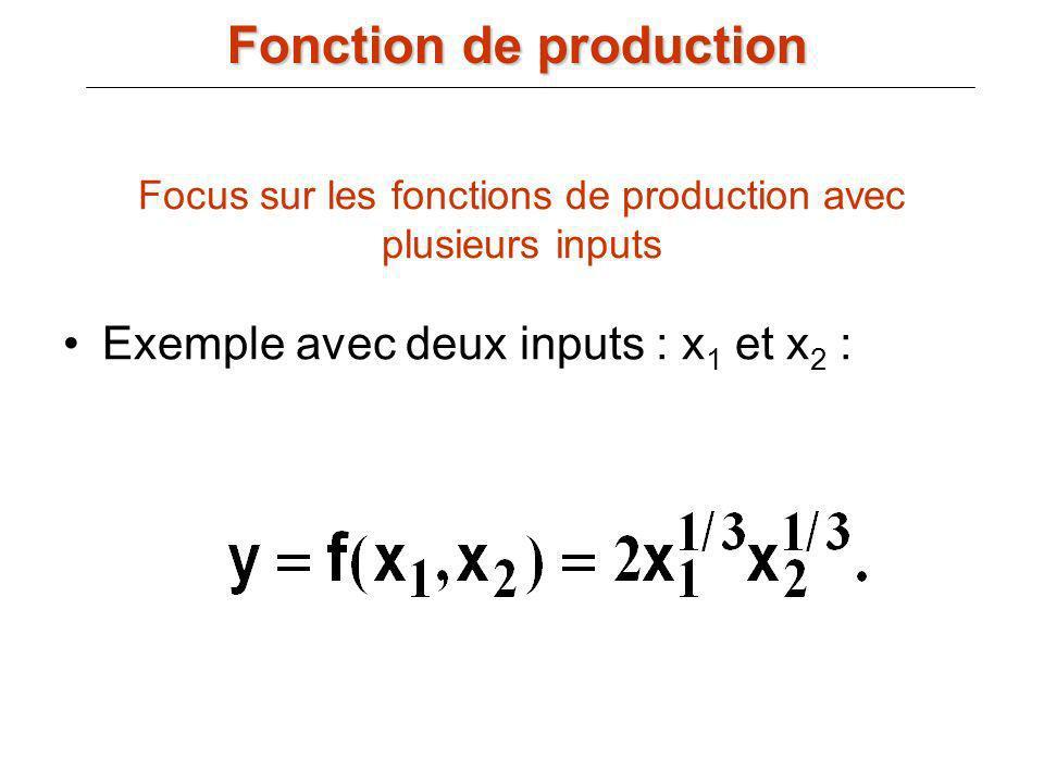 Focus sur les fonctions de production avec plusieurs inputs Exemple avec deux inputs : x 1 et x 2 : Fonction de production