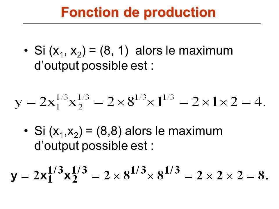 Si (x 1, x 2 ) = (8, 1) alors le maximum doutput possible est : Si (x 1,x 2 ) = (8,8) alors le maximum doutput possible est : Fonction de production