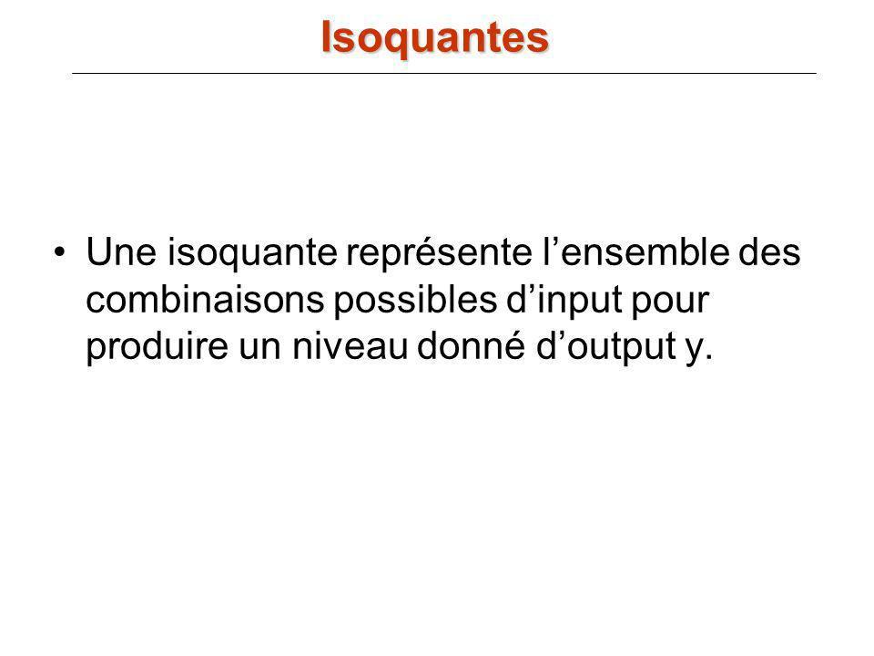 Une isoquante représente lensemble des combinaisons possibles dinput pour produire un niveau donné doutput y. Isoquantes