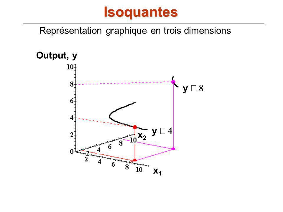 Output, y x1x1 x2x2 y y Représentation graphique en trois dimensions Isoquantes