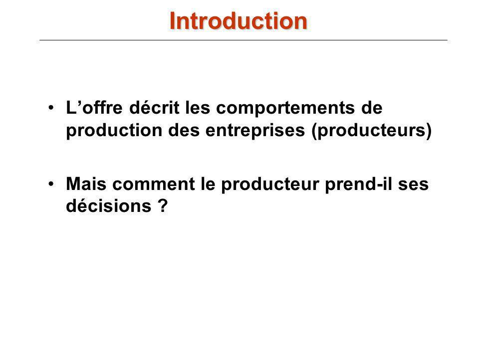 Loffre décrit les comportements de production des entreprises (producteurs) Mais comment le producteur prend-il ses décisions ? Introduction