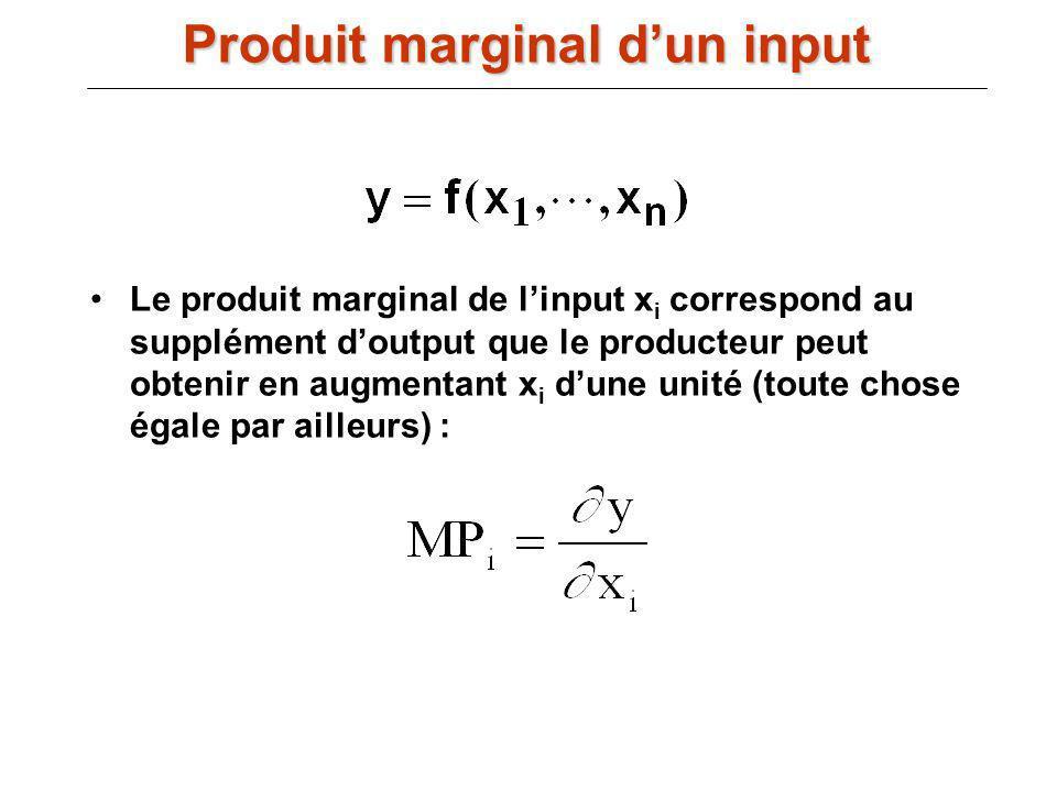 Le produit marginal de linput x i correspond au supplément doutput que le producteur peut obtenir en augmentant x i dune unité (toute chose égale par