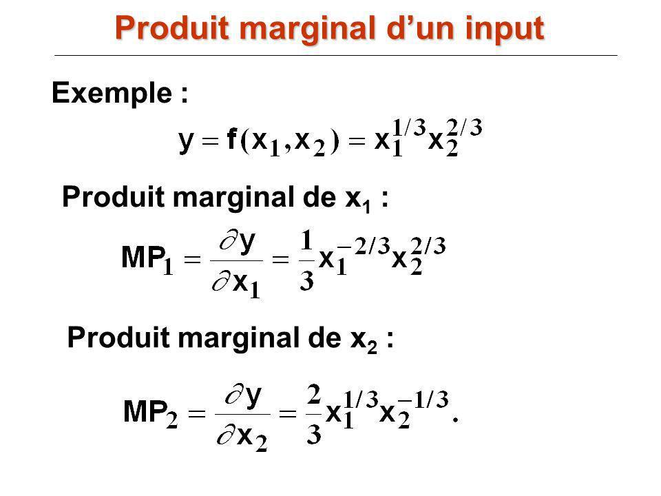 Exemple : Produit marginal de x 1 : Produit marginal de x 2 : Produit marginal dun input