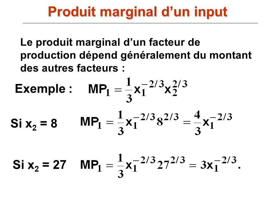 Le produit marginal dun facteur de production dépend généralement du montant des autres facteurs : Exemple : Si x 2 = 27 Si x 2 = 8 Produit marginal d