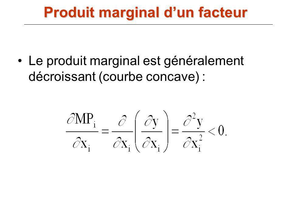 Le produit marginal est généralement décroissant (courbe concave) : Produit marginal dun facteur