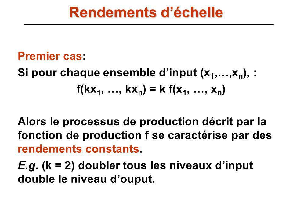 Premier cas: Si pour chaque ensemble dinput (x 1,…,x n ), : f(kx 1, …, kx n ) = k f(x 1, …, x n ) Alors le processus de production décrit par la fonct