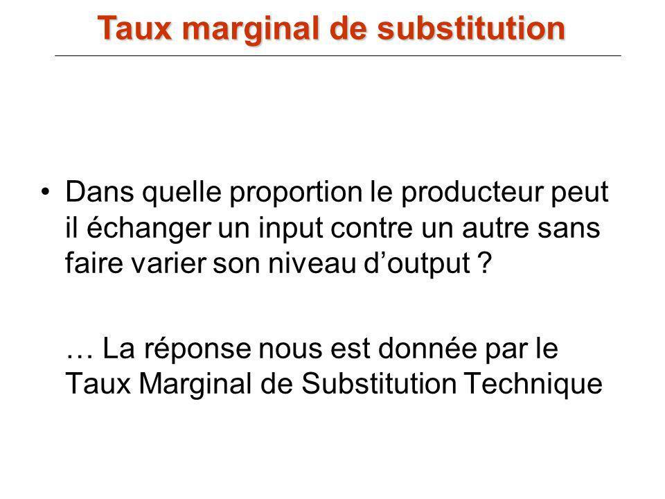 Dans quelle proportion le producteur peut il échanger un input contre un autre sans faire varier son niveau doutput ? … La réponse nous est donnée par