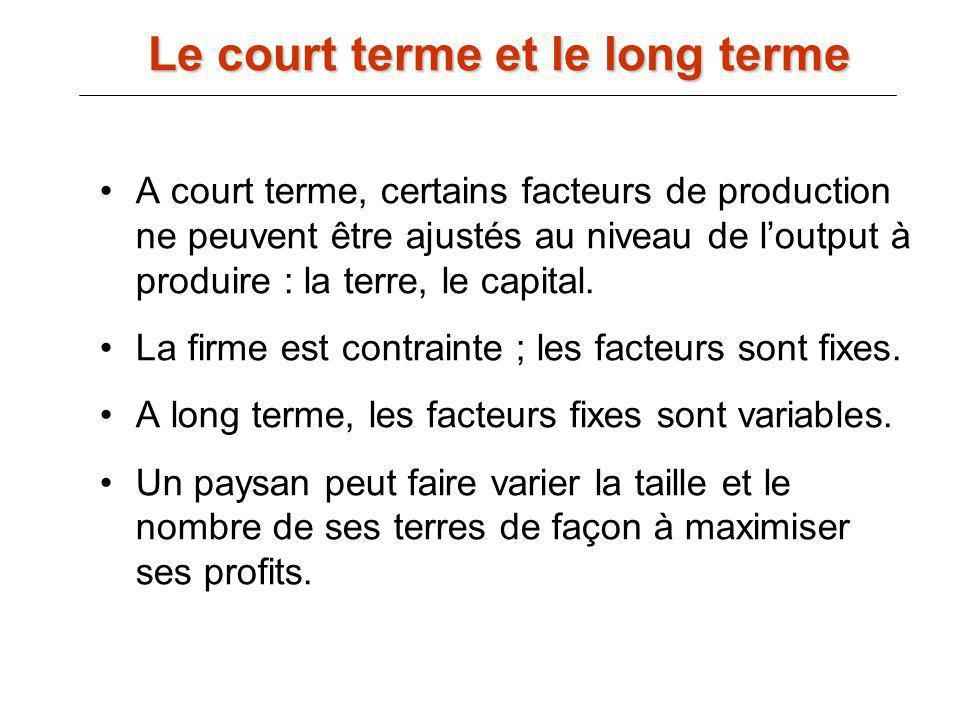 Le court terme et le long terme A court terme, certains facteurs de production ne peuvent être ajustés au niveau de loutput à produire : la terre, le