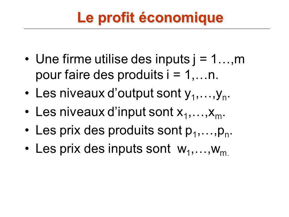 Une firme utilise des inputs j = 1…,m pour faire des produits i = 1,…n. Les niveaux doutput sont y 1,…,y n. Les niveaux dinput sont x 1,…,x m. Les pri