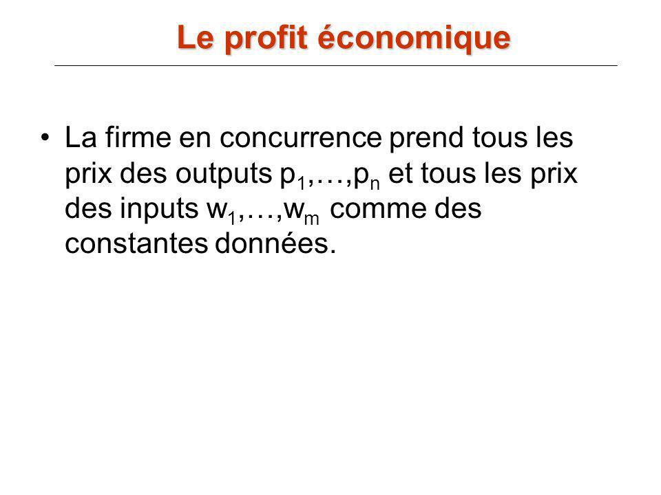 La firme en concurrence prend tous les prix des outputs p 1,…,p n et tous les prix des inputs w 1,…,w m comme des constantes données. Le profit économ