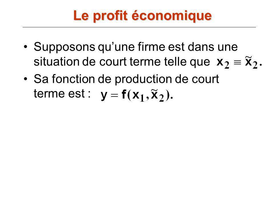 Supposons quune firme est dans une situation de court terme telle que Sa fonction de production de court terme est : Le profit économique
