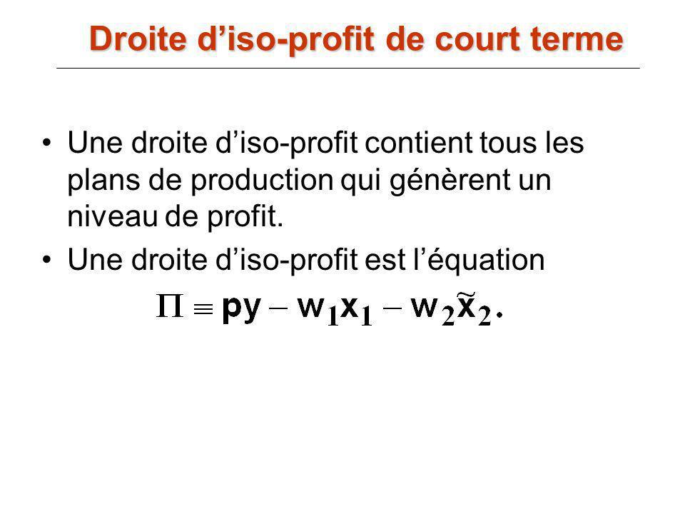 Une droite diso-profit contient tous les plans de production qui génèrent un niveau de profit. Une droite diso-profit est léquation Droite diso-profit