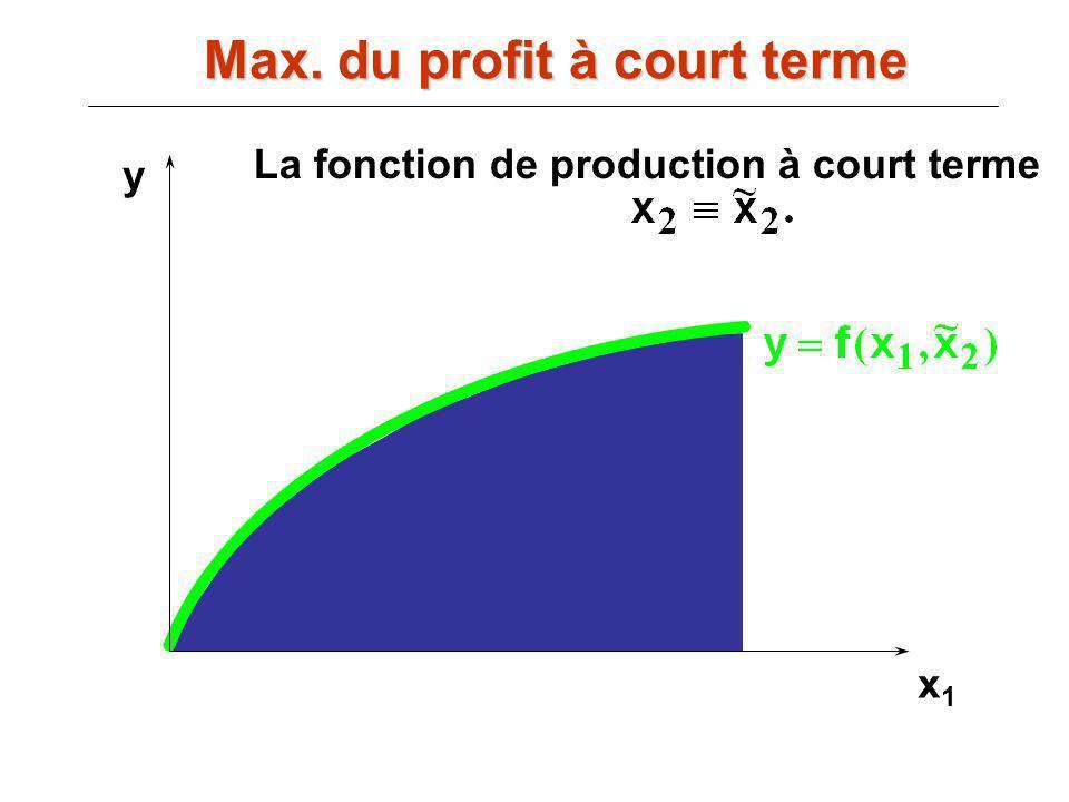 x1x1 y La fonction de production à court terme Max. du profit à court terme