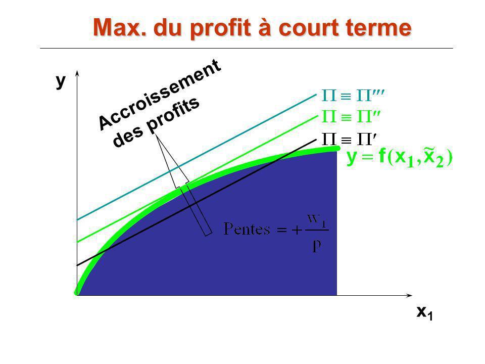 x1x1 Accroissement des profits y Max. du profit à court terme