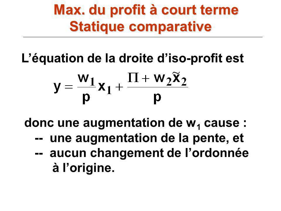 Léquation de la droite diso-profit est donc une augmentation de w 1 cause : -- une augmentation de la pente, et -- aucun changement de lordonnée à lor