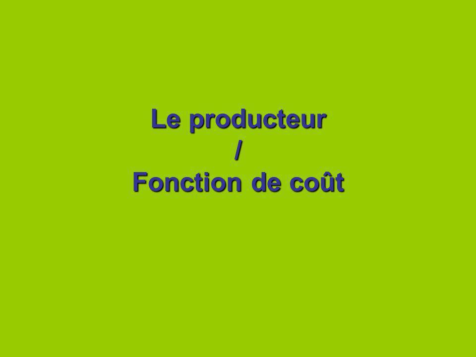 Le producteur / Fonction de coût