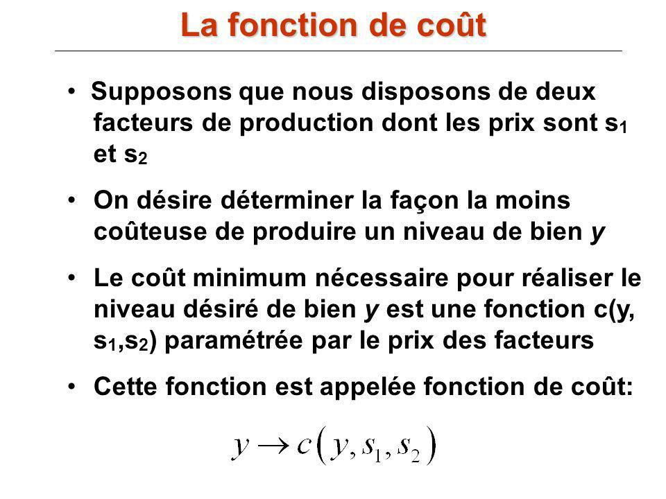 III.B) La fonction de coût : Supposons que nous disposons de deux facteurs de production dont les prix sont s 1 et s 2 On désire déterminer la façon l