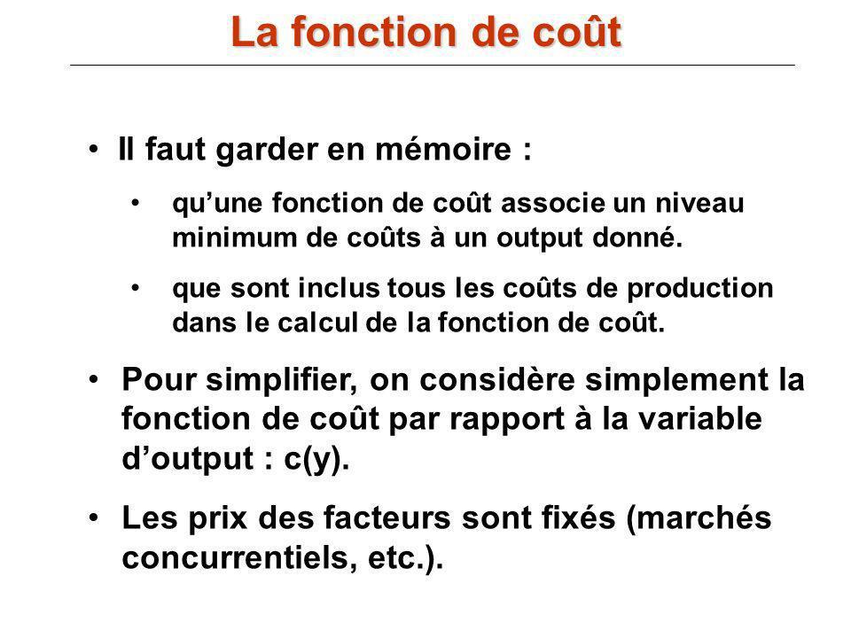 III.B) La fonction de coût : Il faut garder en mémoire : quune fonction de coût associe un niveau minimum de coûts à un output donné. que sont inclus