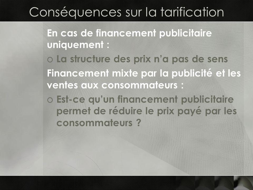 Conséquences sur la tarification En cas de financement publicitaire uniquement : o La structure des prix na pas de sens Financement mixte par la publi
