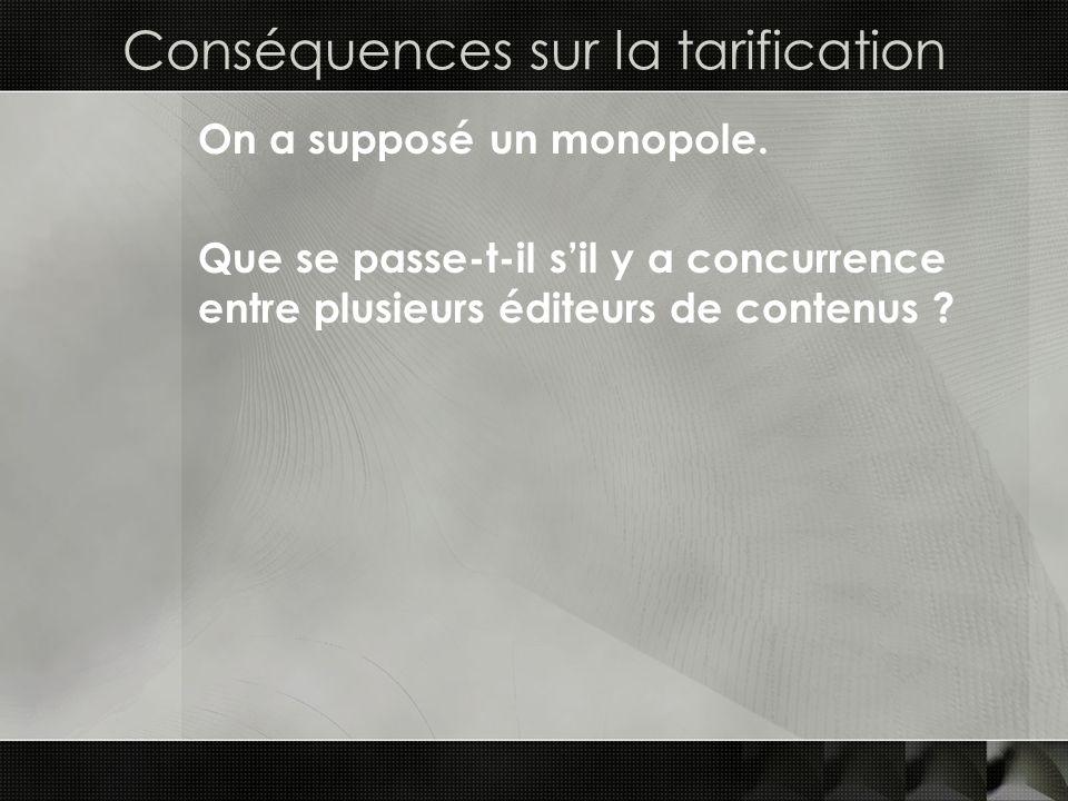 Conséquences sur la tarification On a supposé un monopole. Que se passe-t-il sil y a concurrence entre plusieurs éditeurs de contenus ?