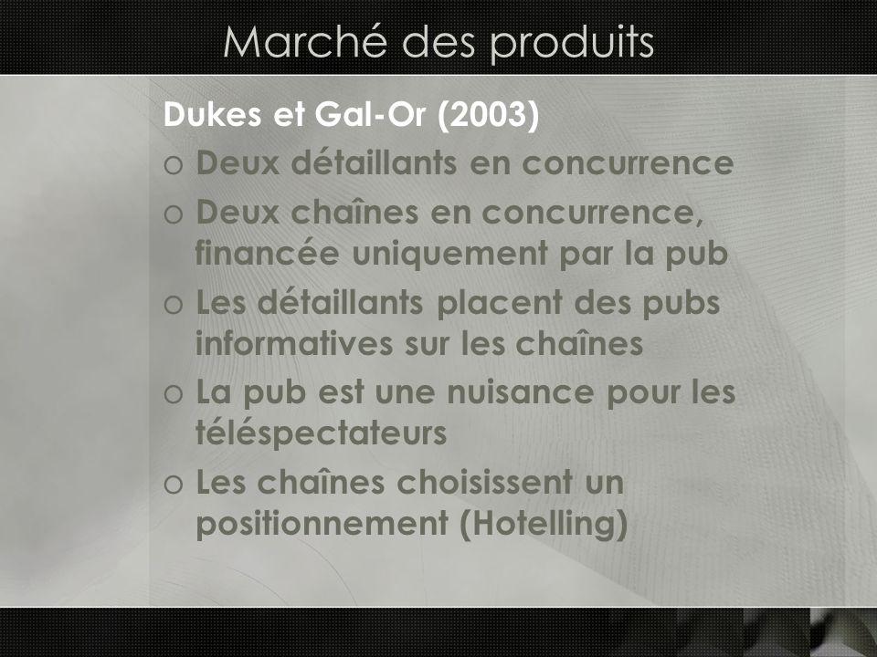 Marché des produits Dukes et Gal-Or (2003) o Deux détaillants en concurrence o Deux chaînes en concurrence, financée uniquement par la pub o Les détai