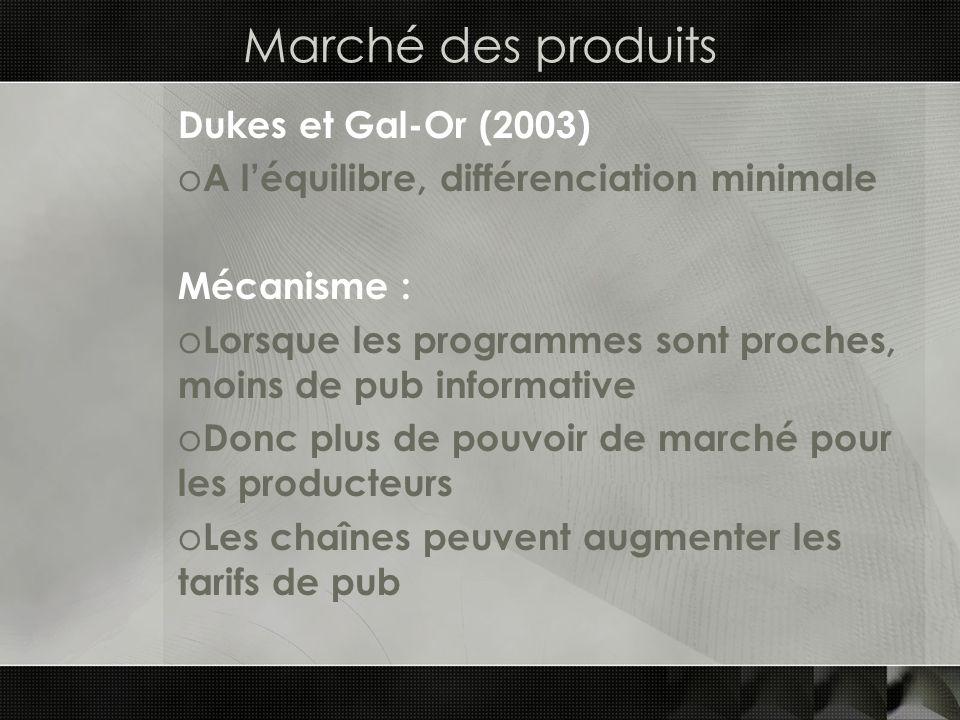 Marché des produits Dukes et Gal-Or (2003) o A léquilibre, différenciation minimale Mécanisme : o Lorsque les programmes sont proches, moins de pub in