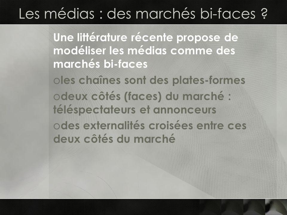 Les médias : des marchés bi-faces ? Une littérature récente propose de modéliser les médias comme des marchés bi-faces o les chaînes sont des plates-f