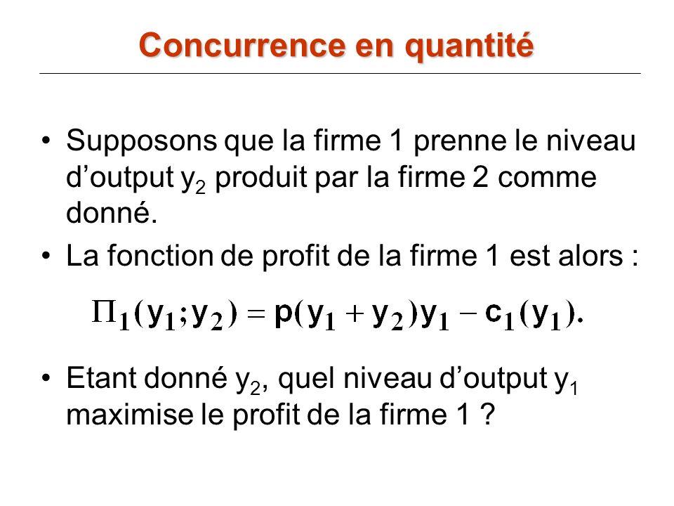 Supposons que la firme 1 prenne le niveau doutput y 2 produit par la firme 2 comme donné. La fonction de profit de la firme 1 est alors : Etant donné
