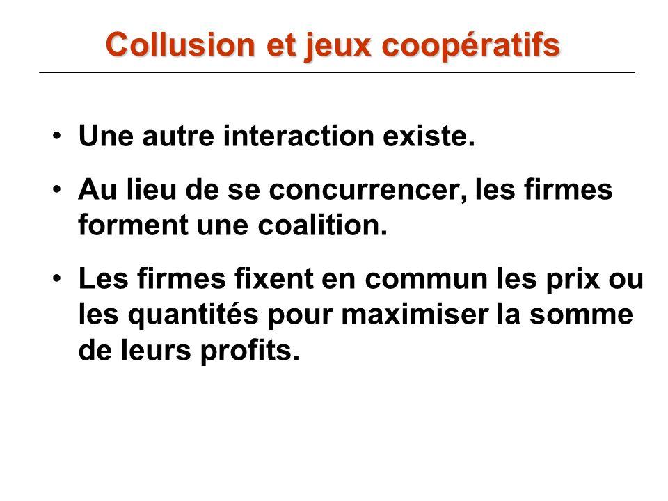 Collusion et jeux coopératifs Une autre interaction existe. Au lieu de se concurrencer, les firmes forment une coalition. Les firmes fixent en commun