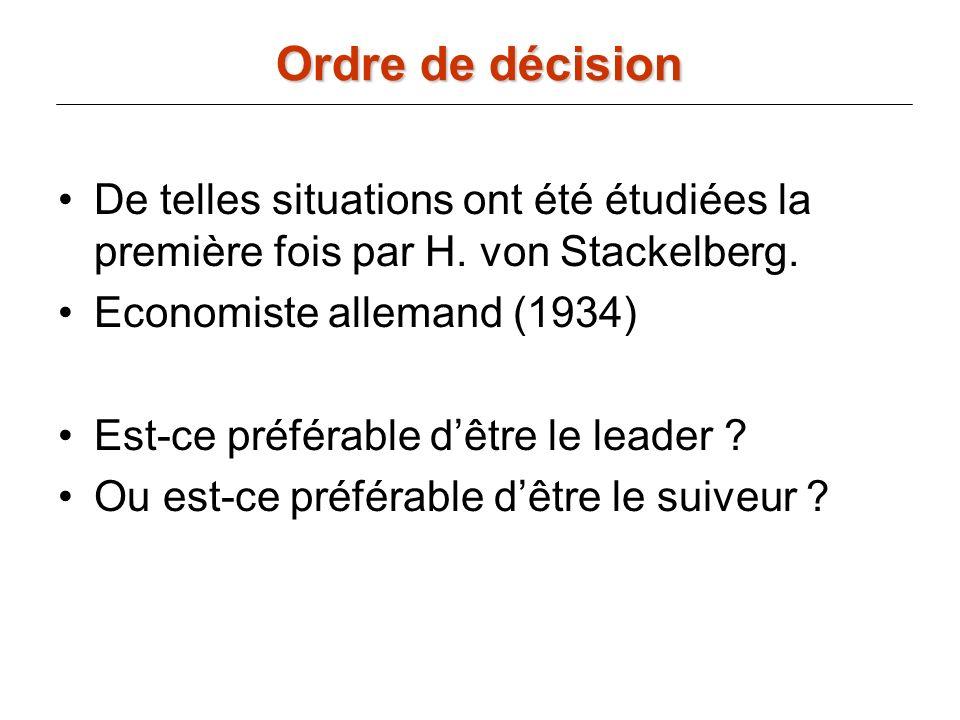 De telles situations ont été étudiées la première fois par H. von Stackelberg. Economiste allemand (1934) Est-ce préférable dêtre le leader ? Ou est-c